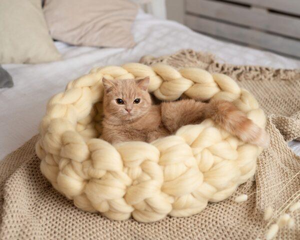 Лежанка для кошки из овечьей шерсти