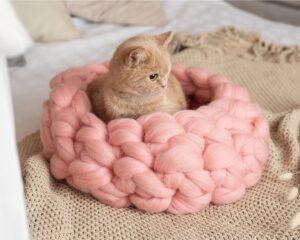 Лежанка для кошки из трикотажной пряжи