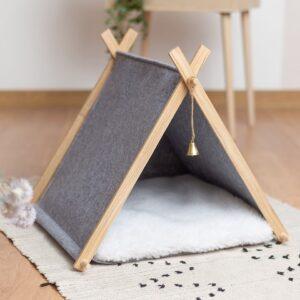 Домик для кошки серый с подушкой